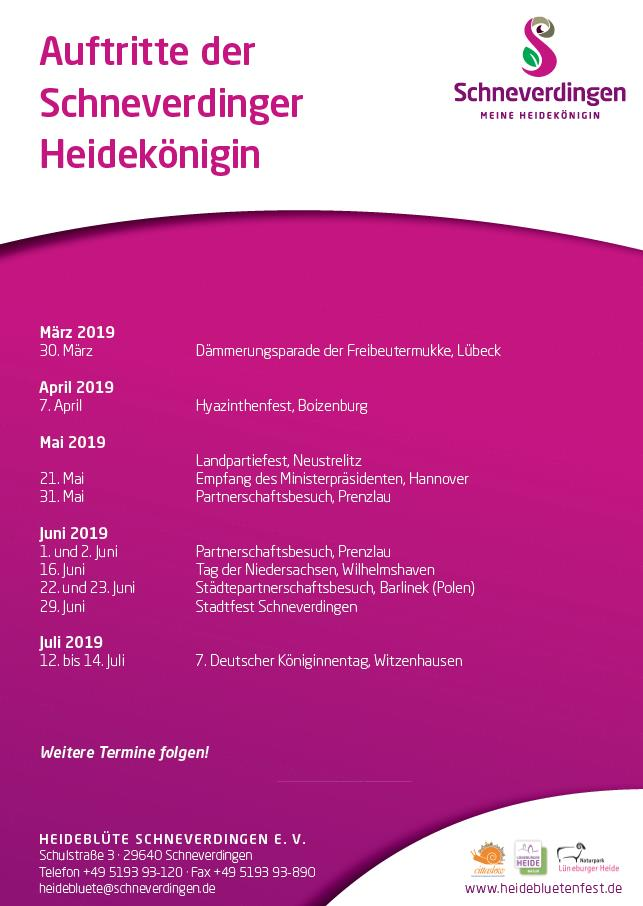 Auftritte der Schneverdinger Heidekönigin 2019
